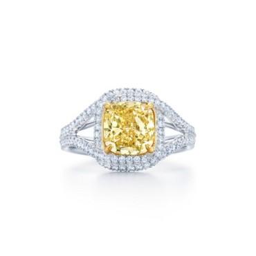 Kwiat Cushion Yellow Diamond Engagement Ring