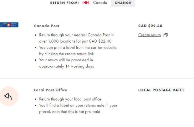 Asos Return Info Canada